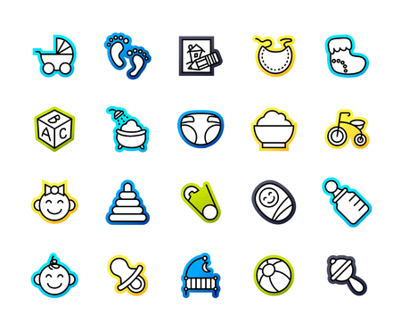 bootees: Outline icons thin flat design, modern line stroke style, web and mobile design element, objects and vector illustration icons set 27 - baby and childhood collection Illustration