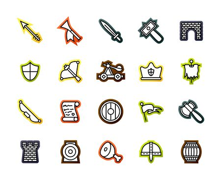 Outline icons thin flat design, modern line stroke style, web and mobile design element, objects and vector illustration icons set 30 - castle and waepon collection