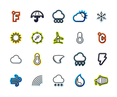 thunderstorms: Outline icons thin flat design, modern line stroke style, web and mobile design element, objects and vector illustration icons set 23 - weather collection