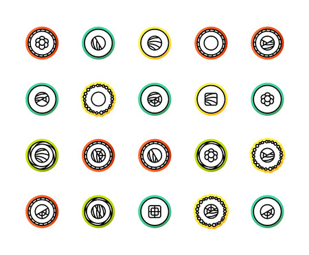 Outline icons thin flat design, modern line stroke style, web and mobile design element, objects and vector illustration icons set 17 - sushi collection
