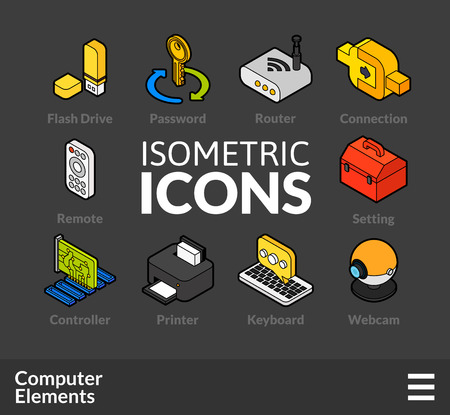 Isometric outline icons, 3D pictograms vector set 4 - computer symbol collection Ilustração