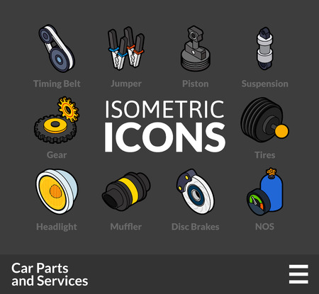 tailpipe: Isometric outline t icons, 3D pictograms vector set 36 - Car parts and services symbol collection Illustration
