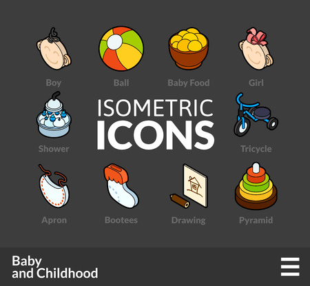 bootees: Isometric outline icons, 3D pictograms vector set 59 - Baby and childhood symbol collection