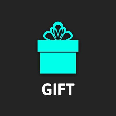 Gift box icon with ribbon, flat design vector illustration