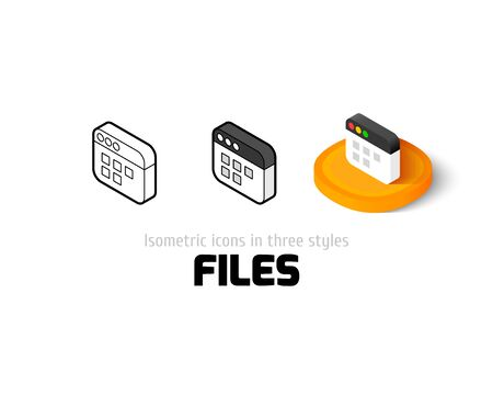 Files icon, vector symbol in flat, outline and isometric style Illustration