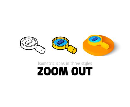 Zoom out icon, vector symbol in flat, outline and isometric style Illustration