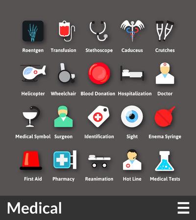 Iconos del diseño del material plano set - colección médica