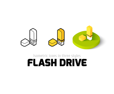 Flash drive icon, vector symbol in flat, outline and isometric style Illustration