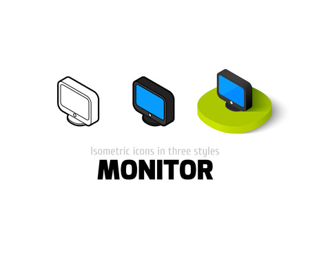 Monitor icon, vector symbol in flat, outline and isometric style