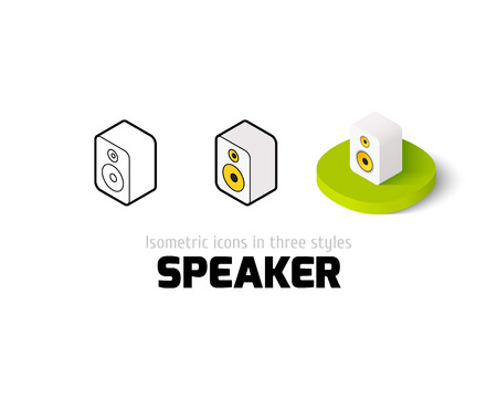 Speaker icon, vector symbol in flat, outline and isometric style Illustration