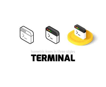 administrativo: icono Terminal, símbolo del vector en el plano, esquema y estilo isométrico