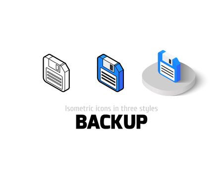 fdd: Backup icon, vector symbol in flat, outline and isometric style