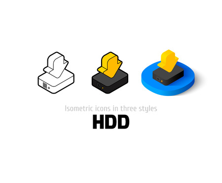 HDD icon, vector symbol in flat, outline and isometric style Illustration