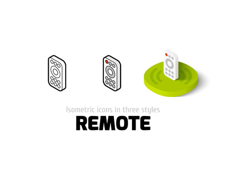 Remote icon, vector symbol in flat, outline and isometric style
