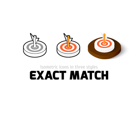 Exact match icon, vector symbol in flat, outline and isometric style