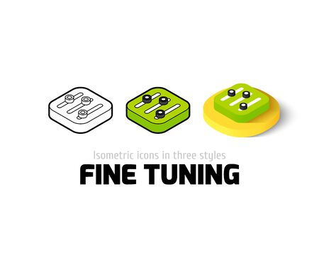 volume knob: Fine tuning icon, vector symbol in flat, outline and isometric style