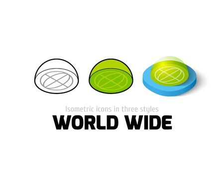 World wide icon, vector symbol in flat, outline and isometric style