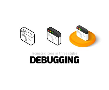 debugging: Debugging icon, vector symbol in flat, outline and isometric style Illustration
