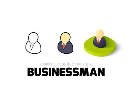 pictogram people: Businessman icon, vector symbol in flat, outline and isometric style
