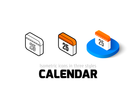 Calendar icon, vector symbol in flat, outline and isometric style