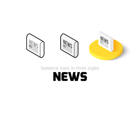 News icon, vector symbol in flat, outline and isometric style
