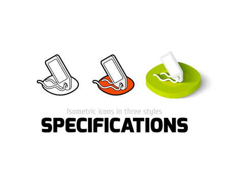 specification: Specifications icon, vector symbol in flat, outline and isometric style
