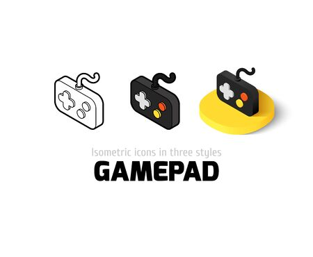 Gamepad icon, vector symbol in flat, outline and isometric style
