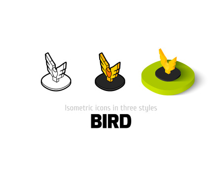 Bird icon, vector symbol in flat, outline and isometric style
