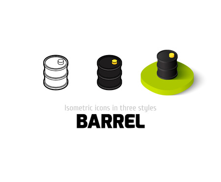 oil drum: Barrel icon, vector symbol in flat, outline and isometric style Illustration