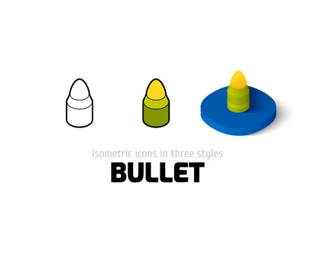 Bullet icon, vector symbol in flat, outline and isometric style Illustration