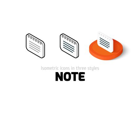 Note icon, vector symbol in flat, outline and isometric style