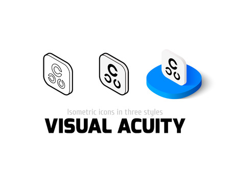snellen: Visual acuity icon, vector symbol in flat, outline and isometric style