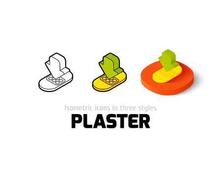 wound care: Plaster icon, vector symbol in flat, outline and isometric style