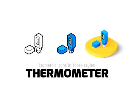 Thermometer icon, vector symbol in flat, outline and isometric style