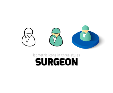 pictogram people: Surgeon icon, vector symbol in flat, outline and isometric style Illustration
