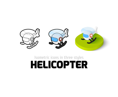 Helicopter icon, vector symbol in flat, outline and isometric style