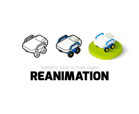 gurney: Reanimation icon, vector symbol in flat, outline and isometric style Illustration