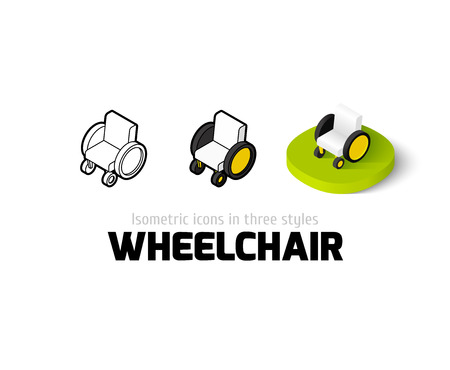 Wheelchair icon, vector symbol in flat, outline and isometric style
