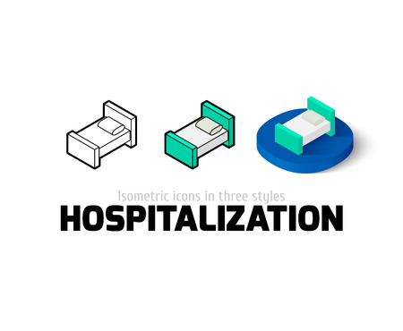 Hospitalization icon, vector symbol in flat, outline and isometric style