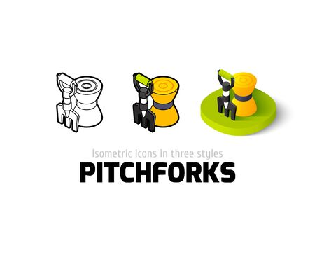 Pitchforks icon, vector symbol in flat, outline and isometric style Illustration