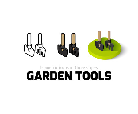 Garden tools icon, vector symbol in flat, outline and isometric style