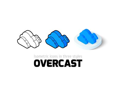 overcast: Overcast icon, vector symbol in flat, outline and isometric style
