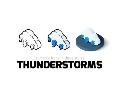 thunderstorms: Thunderstorms icon, vector symbol in flat, outline and isometric style
