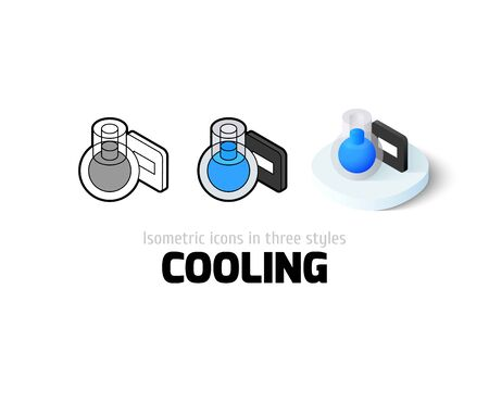 thaw: Cooling icon, vector symbol in flat, outline and isometric style