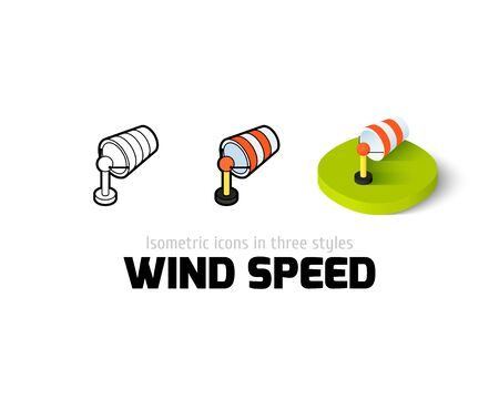 Wind speed icon, vector symbol in flat, outline and isometric style