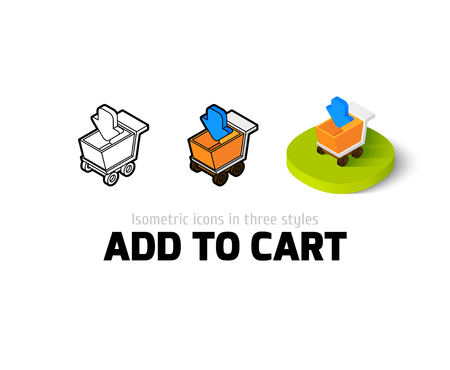 Add to cart icon, vector symbol in flat, outline and isometric style Illustration