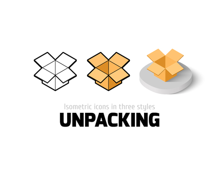 unpacking: Unpacking icon, vector symbol in flat, outline and isometric style Illustration
