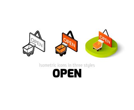 cerrando negocio: Abrir icono, símbolo del vector en plano, esquema y estilo isométrico