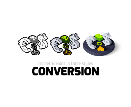 conversion: Conversion icon, vector symbol in flat, outline and isometric style Illustration