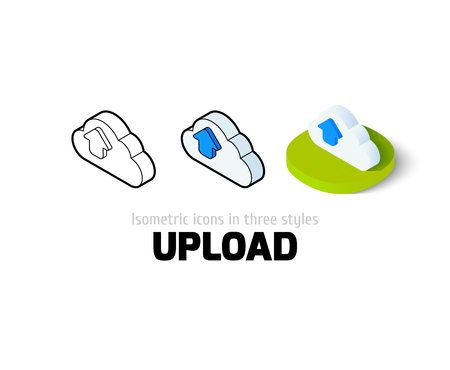 Upload icon, vector symbol in flat, outline and isometric style Vektorové ilustrace